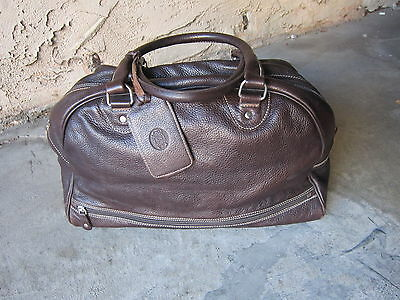 """ROOT's Leather Duffel Bag / Carry-on / Over-night bag  dark brown leather  18"""""""