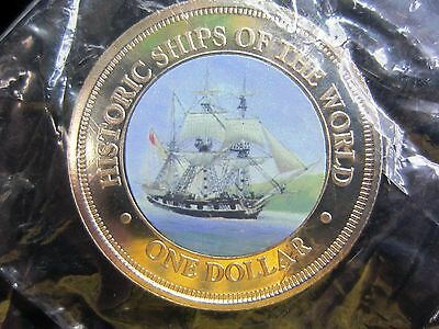 """historic Ships Of The World"" Darwins' ""hms Beagle"" Color Coin Cook Islands"