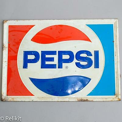 Vintage Embossed Pepsi Tin Sign, Man Cave Americana Advertising Piece