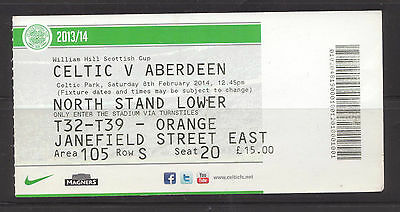 Celtic v Aberdeen Used Ticket Stub Celtic Park 8th Feb 2014 Scot Cup
