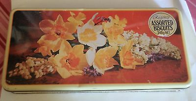 Vintage Regency 'daffodils' Asssorted biscuits empty tin