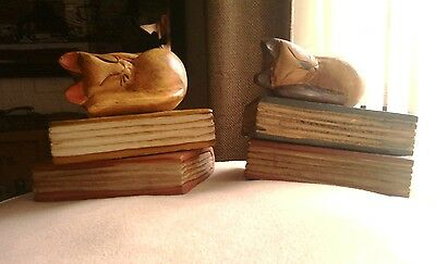 Wooden/vintage Looking/cats On Books/bookends/statues.