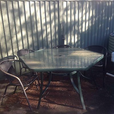 Outdoor glass dining table Seats 8