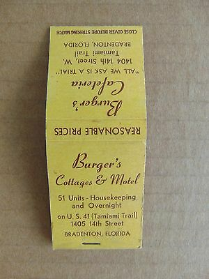 Burgers Cottages & Motel Matchbook from 1940's  Bradenton Fl.