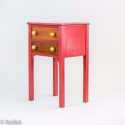 Red Two Drawer Table with Vintage Style Drawer Pulls