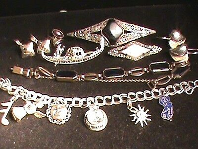 Sterling Silver And Sterling 14 KT. Nice Jewelry Lot 77.39 Grams Charm Bracelet