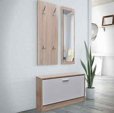 Shoe Storage Cabinet Set with Coat Rack and Mirror Wood White Modern Furniture