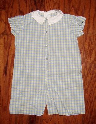 HOLLYWOOD BABY One Piece Outfit /Romper Plaid Blue/Yellow Boys Size 3T