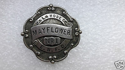 E. Norwalk Connecticut Mayflower H&L&Hose FIRE Dept. BADGE #1 Hallmarked Braxmar