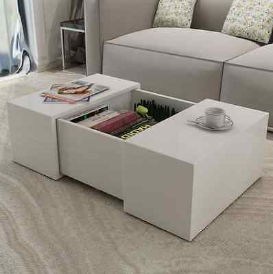 White Gloss Coffee Table with Storage Contemporary Living Room Furniture