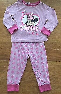 Girls Pink Minnie Mouse Pyjamas Age 1.2-2 Years 18-24 Months
