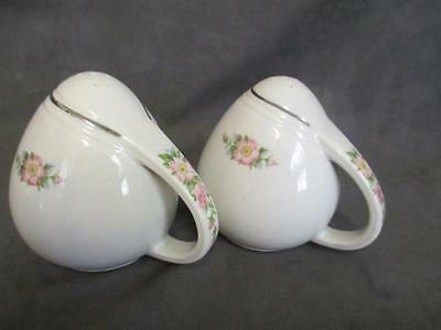 D4 Vintage Hall China Rose White Salt & Pepper Shakers