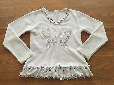 Girls Cream Butterfly Sequin Long Sleeve Top Age 6 Years