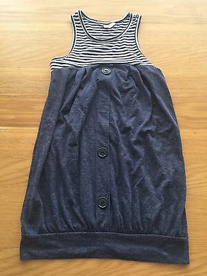 Girls Navy Striped Long Top Age 8-9 Years