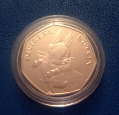 1x Beatrix Potter Squirrel Nutkin 50p Fifty Pence Uncirculated Coin In Capsule