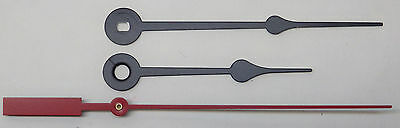 """Spade Style Clock Hands Set Quartz Battery Clock 7 to 8"""" DIal NEW Red Sweep"""