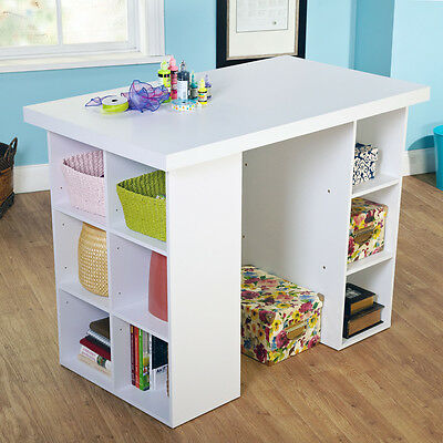 Craft Table with Storage Scrapbooking Art Sewing Stand and Work Organize Space