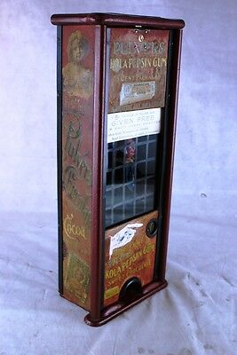 Complete Original Working Early Tall Chocolate Tin Pulver Gum Vending Machine