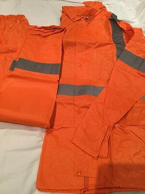 Hi Vis Waterproof Set Jacket & Pants With Tape Size L -Boating Fishing Camping