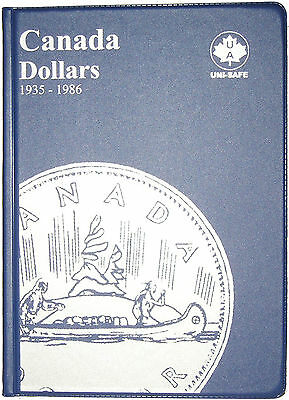 Canadian Loonie 1 Dollar Uni-Safe Blue Coin Folder Protector - 4 Pages 1935-1986
