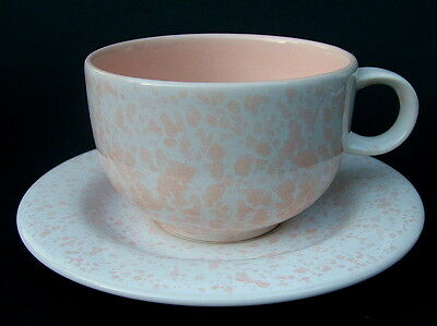 1980's Hornsea Pottery Mottled Pink on White Tea Cups & Saucers Look in VGC
