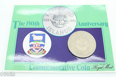 FALKLAND ISLANDS 1983 150th ANNIVERSARY 1833-1983 50 Pence Coin UNCirculated