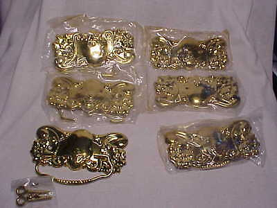 6 Victorian  Extra Large Stamp Brass   Drawer Pulls Handles