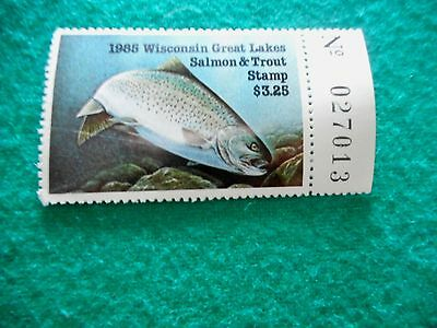1985 Wisconsin Trout Stamp, unsigned