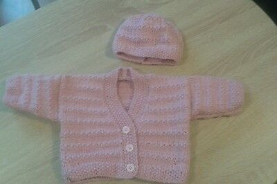 Baby girl cardigan and hat set age 0-3 months