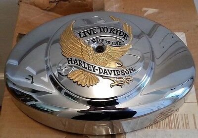 2000-2016 Harley Davidson Softail Air Cleaner Cover With Gold Live to Ride Eagle