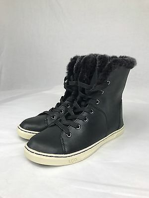 820e4754499 UGG BLACK CROFT Luxe Quilt Leather Sheepskin Ankle Boots, Us 5