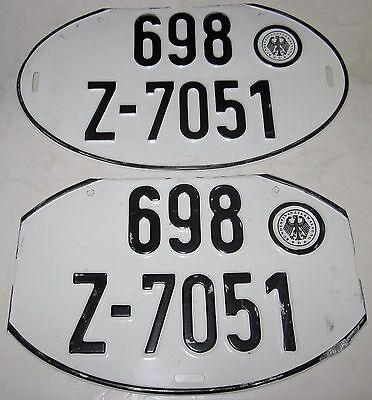 Vintage Matched Pair of Oval German License Plates