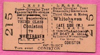 LMS Rly Ed card ticket WHITEHAVEN to LAKESIDE & CONISTON. Train, road, boat tour