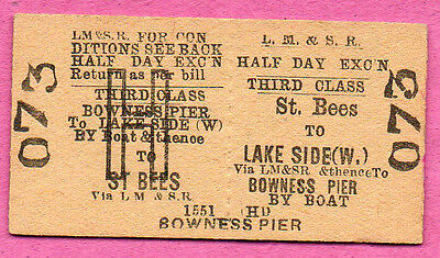 LMS Rly Ed card ticket ST. BEES to LAKESIDE & BOWNESS. Train & boat tour