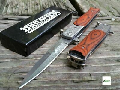 """8.5"""" Godfather Spring Assisted Pocket Knife Tactical Damascus Blade Milano Wood"""