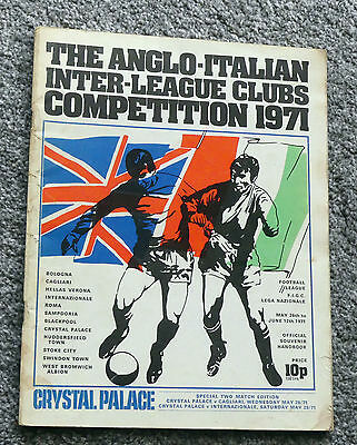 Anglo Italian League Competition 1971 Crystal Palace edition