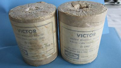Vintage Lot of 2 VICTOR 6 CORD Waxed Linen Lacing Cord Type N Ludlow Textile USA