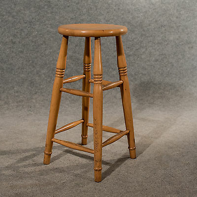 Antique Tall Bar Machinist Laboratory Stool in Beech Vintage Edwardian c1910