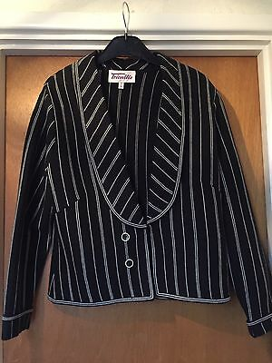Ladies Size 14 Black And White Stripped Suit Jacket