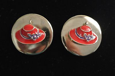 Vintage Red Hat Society Shoe Clips Silver Tone Red Hat Shoe Clips