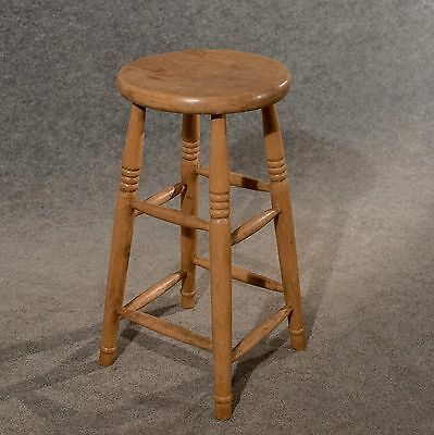 Antique Tall Bar Machinist Laboratory High Stool Beech Vintage Edwardian c1910