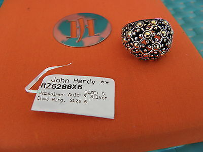John Hardy Jaisalmer 925 Sterling Silver 18K Yellow Gold Dome Dot Ring Size 6