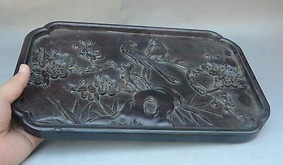 """14"""" Antique China Chinese Wood Carving Plum Blossom Bird Dish Plate Tray"""