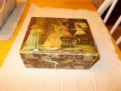 Late 1800S Early 1900S Victorian Sewing Box With Lithograph On Outside Items Ins