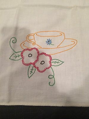 Vintage Kitchen Towel Embroidered Coffee Cup Pansies