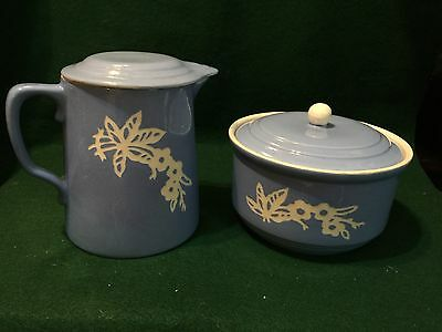 Rare Vintage Pottery by Harker Casserole w Lid & Coffee Pot-Camcoware Blue w Whi