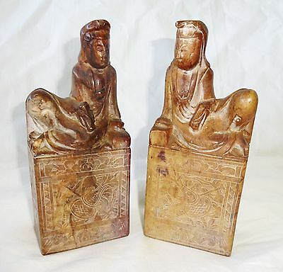 20CT Pair Chinese Steatite Seals Surmounted by Robed Female Figure (Cha)