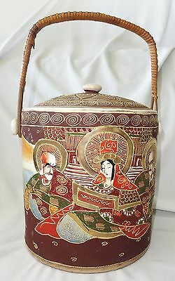 1930s Japanese Satsuma Ware Pottery Jar w. Raised Enamel Design Buddhist Deity