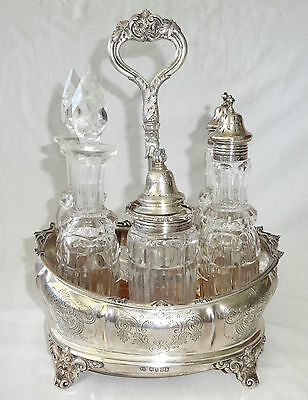 1873 UK London Sterling Silver & Crystal Cruet Set by William Evans (Lan)
