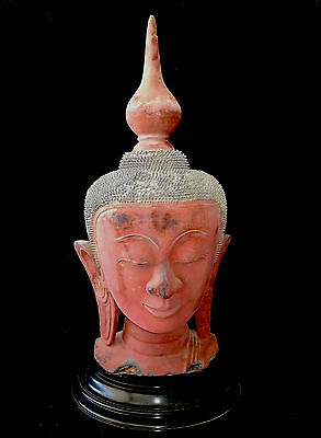 18/19CT Shan State Lacquered Wood Buddha Head on Heavy Base (Lol)